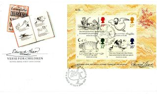 27 September 1988 Edward Lear Miniature Sheet Unad Royal Mail Fdc London N22 Shs photo