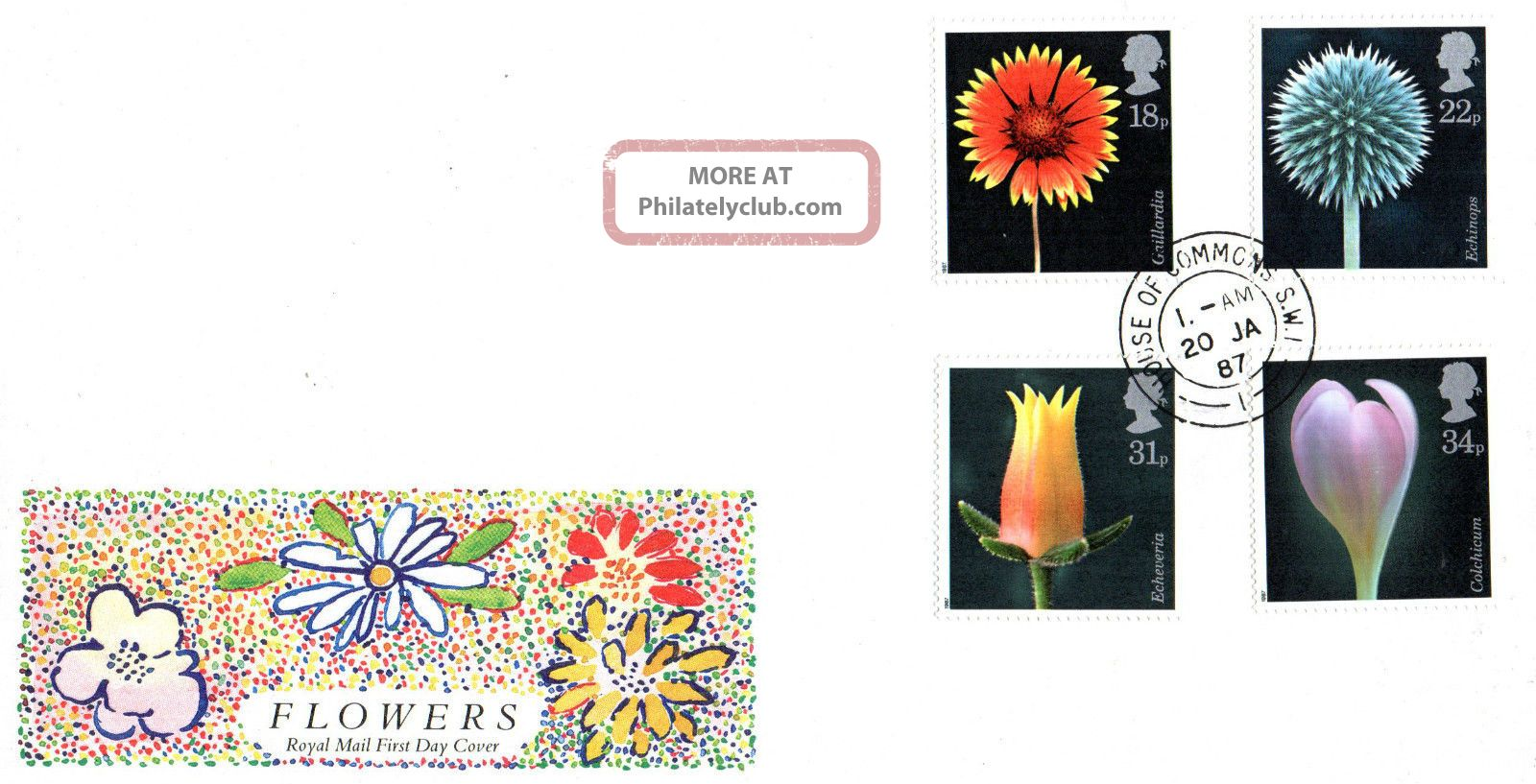 20 January 1987 Flowers Royal Mail First Day Cover House Of Commons Sw1 Cds Topical Stamps photo