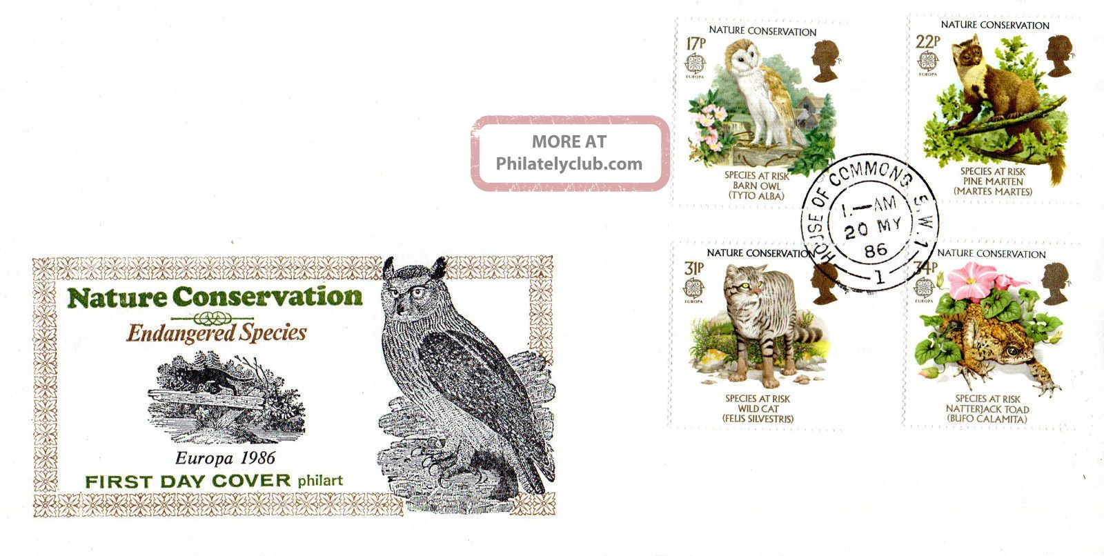 20 May 1986 Nature Conservation Philart First Day Cover House Of Commons Sw1 Cds Animal Kingdom photo