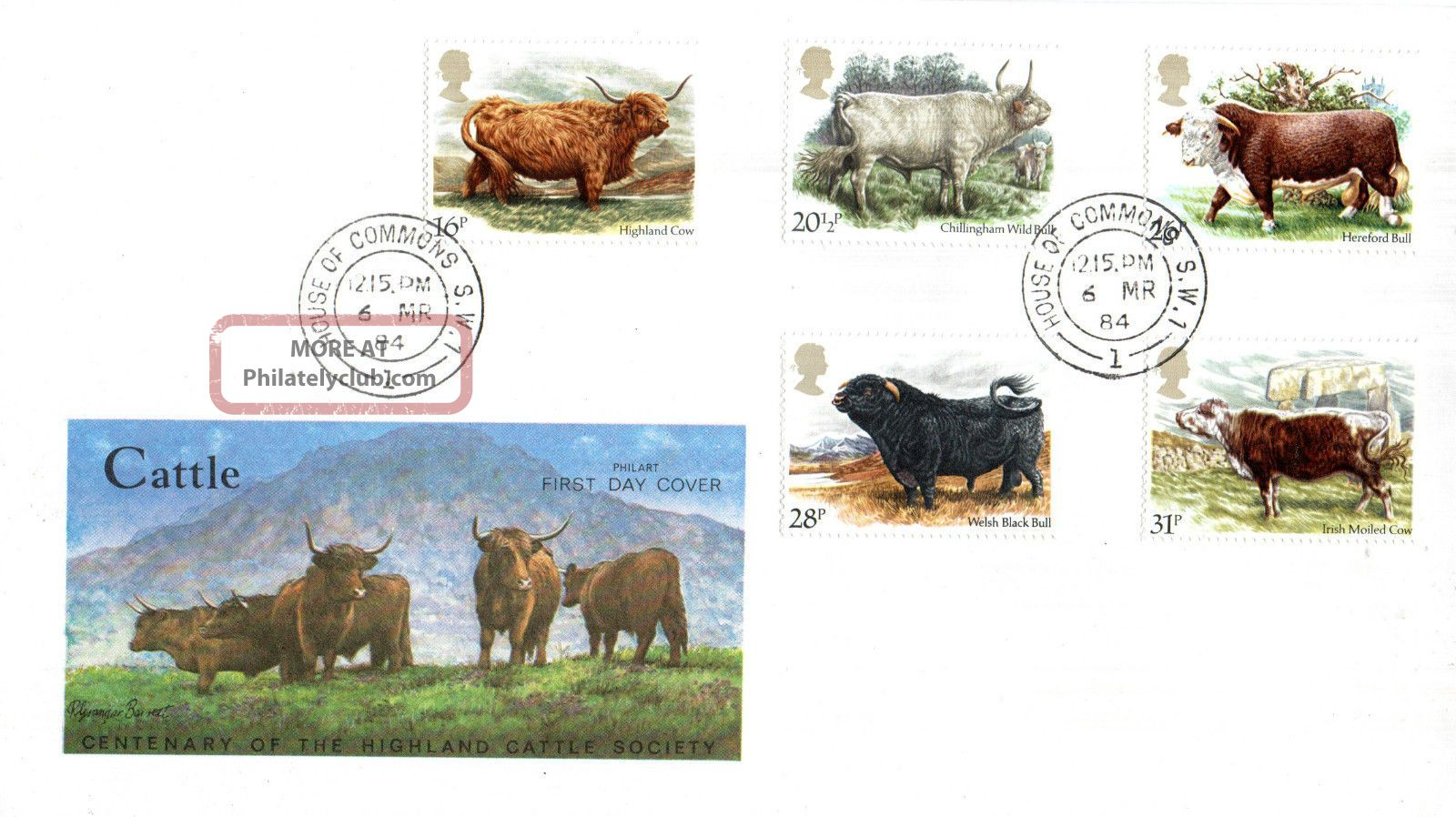 6 March 1984 British Cattle Philart First Day Cover House Of Commons Sw1 Cds Animal Kingdom photo