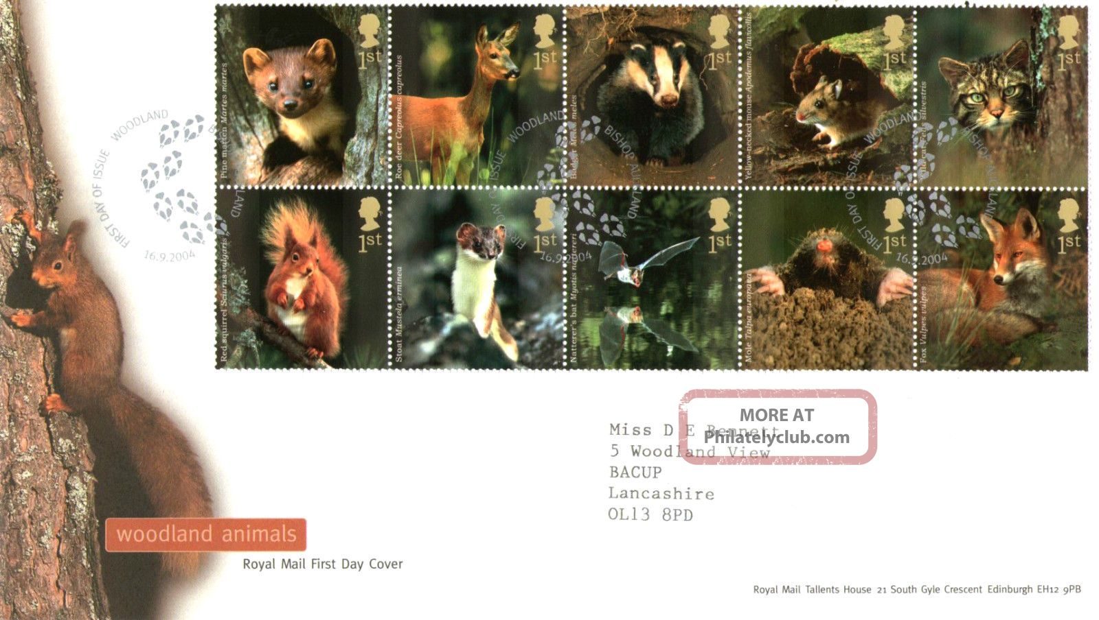 16 September 2004 Woodland Animals Rm First Day Cover Bishop Auckland Shs Animal Kingdom photo