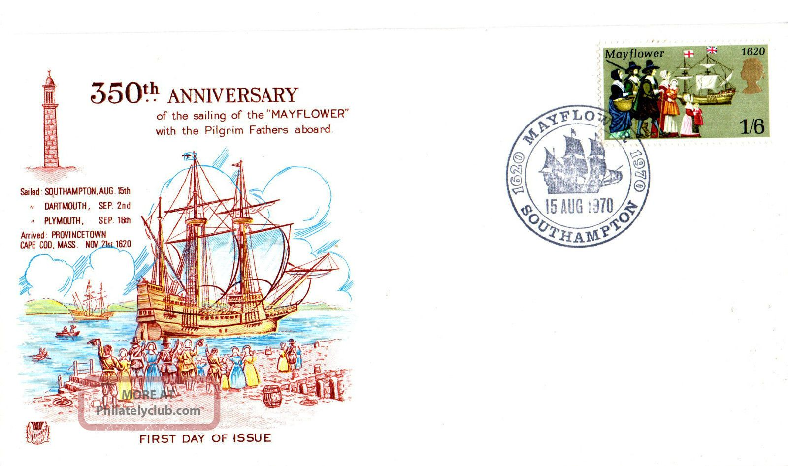15 August 1970 Mayflower Stuart Commemorative Cover Southampton Shs Transportation photo
