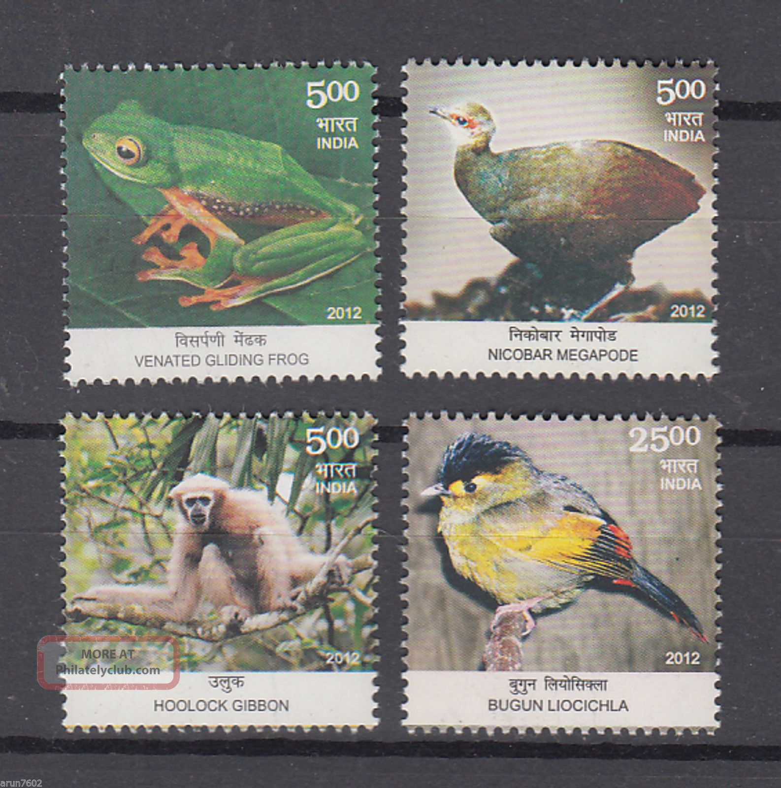 India 2012 Biodiversity 4v Gliding Frog Hoolock Gibbon Birds 62883 Animal Kingdom photo