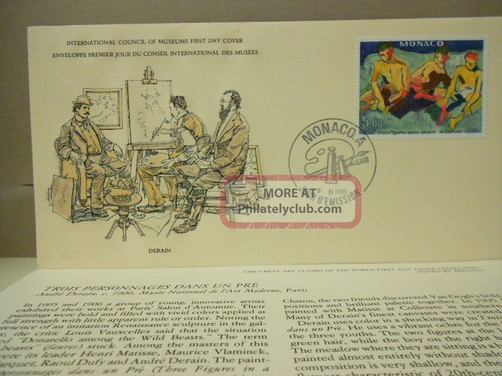 Monaco World Art Stamp 1st Day Cover 1980 Trois Personnages Dans Un Pre,  Derain Topical Stamps photo
