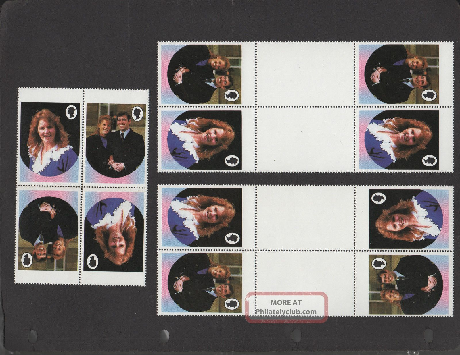 6x Virgin Islands 1986 Royal Wedding - Error - Gutters - No Value - Tete - Beche Topical Stamps photo
