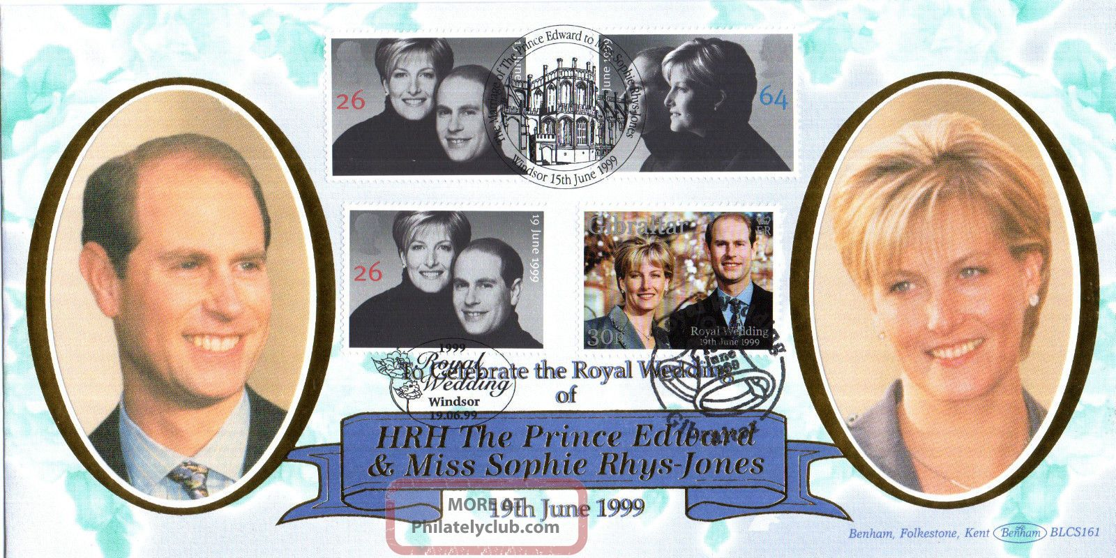 15 June 1999 Royal Wedding With Wedding Day & Gibraltar Benham Fdc Shs Topical Stamps photo