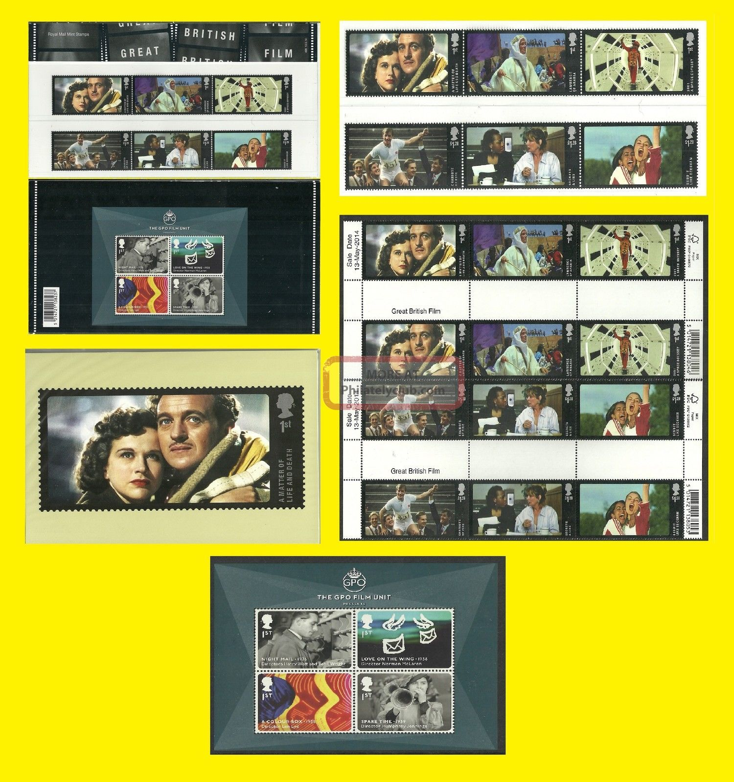2014 Great British Film All Royal Mail Varieties Issued Each Seperately Topical Stamps photo