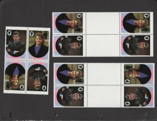 6x Montserrat 70c 1986 Royal Wedding - Error - Gutters - No Value - Tete - Beche photo