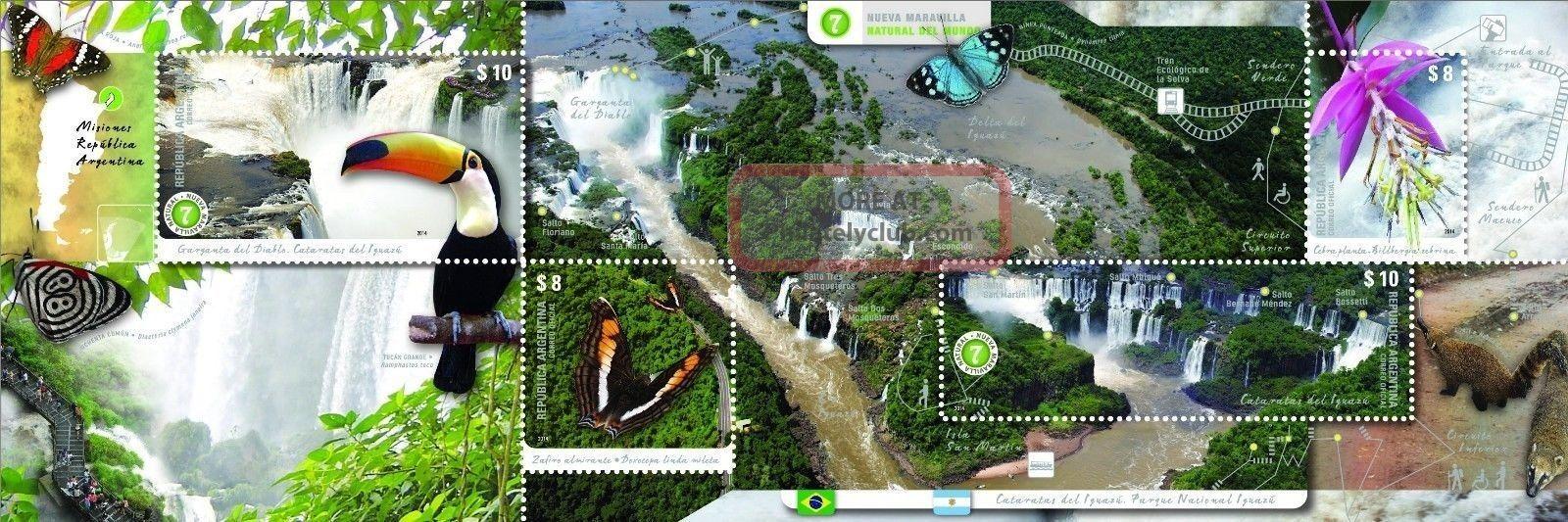 Argentina: Iguazu Waterfalls: Birds,  Butterflies,  Flowers (2014) S/sh Pack Latin America photo