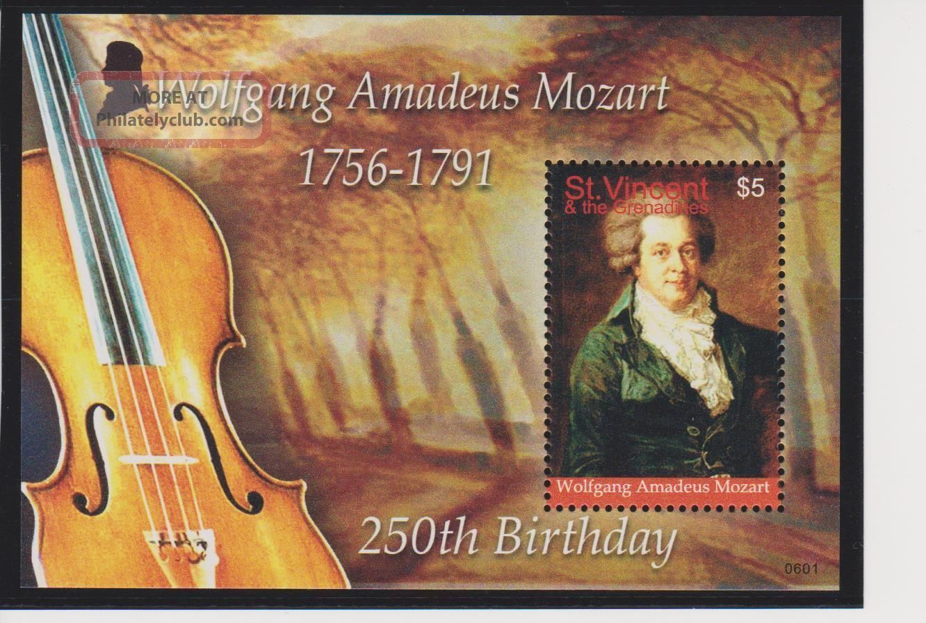 Saint Vincent Wolfgang Amadeus Mozart 250th Ann.  Of Birth S/s Scott 3556 Topical Stamps photo