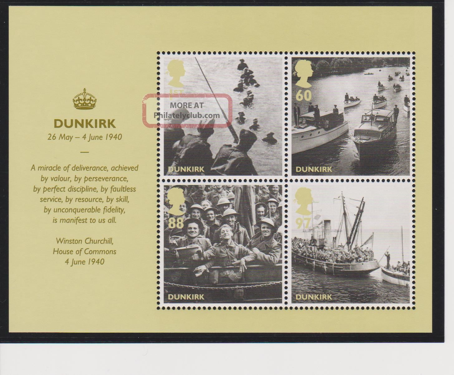 Great Britain Dunkirk / Britain Alone Sheet Of 4 2010 Issue Topical Stamps photo