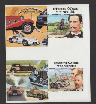 Saint Vincent 1987 Century Of Motoring Sc 1048/1050 Error No Gold Very Rare photo
