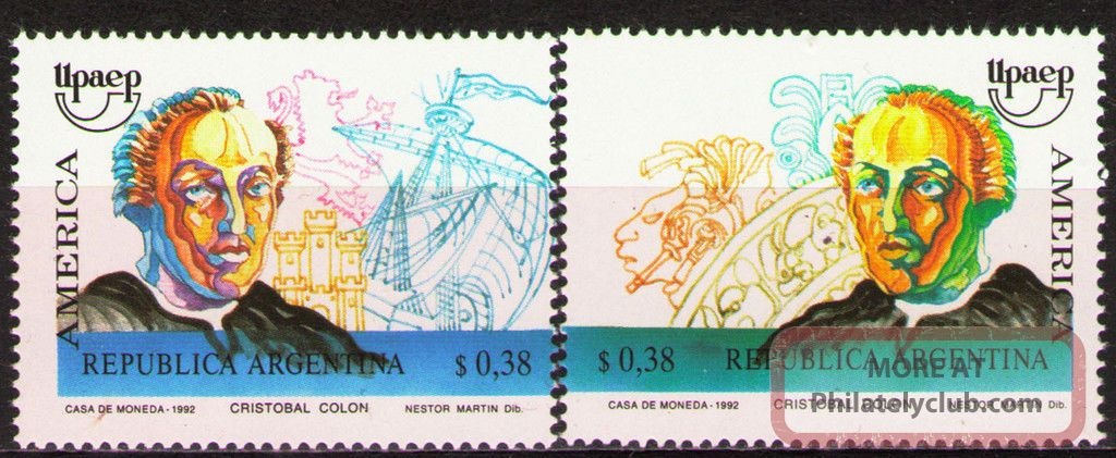 Argentina 1992 Mi2145 - 46 4.  00 Mieu 2v Discovery Of America - Columbus Topical Stamps photo