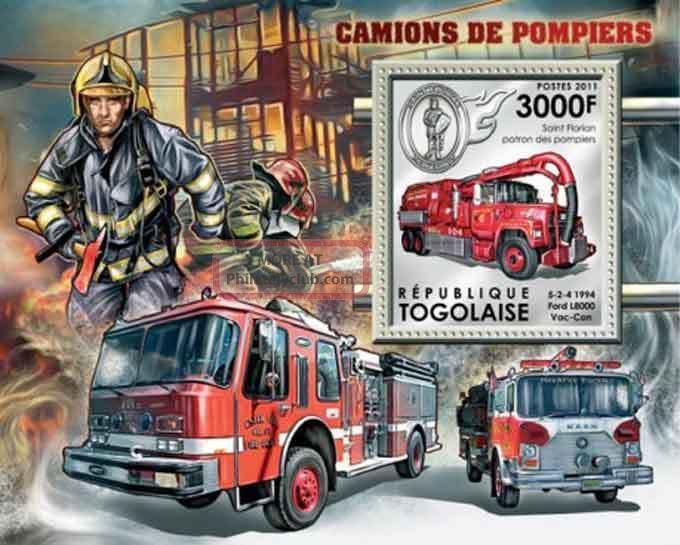 Togo - 2011 Fire Engines - Stamp Souvenir Sheet - 20h - 363 Transportation photo