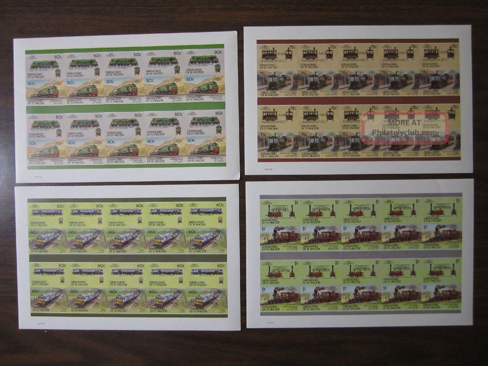Saint Vincent Grenadines 1987 8th Series Locomotives Imperf Specimen Panes Transportation photo