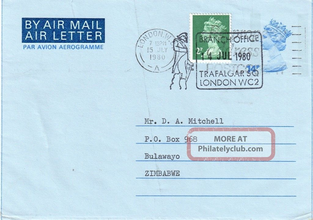 Gb = Postal Stationary - 1980 14p Uprated 2p Fdi From London To Zimbabwe. Specialty Philately photo