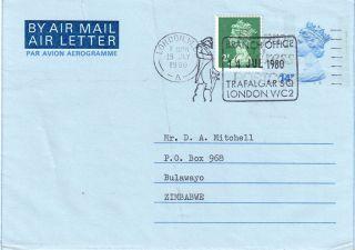Gb = Postal Stationary - 1980 14p Uprated 2p Fdi From London To Zimbabwe. photo