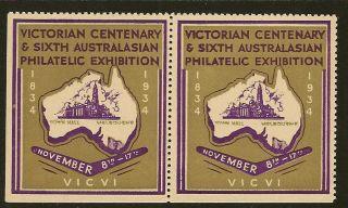 Australia 1934 Victorian Centenary Philatelic Exhibition Pair photo