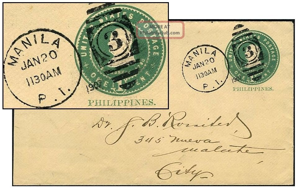 Philippines 1¢ Pse Jan 1907 Manila Sc U17/upss - 25 United States photo