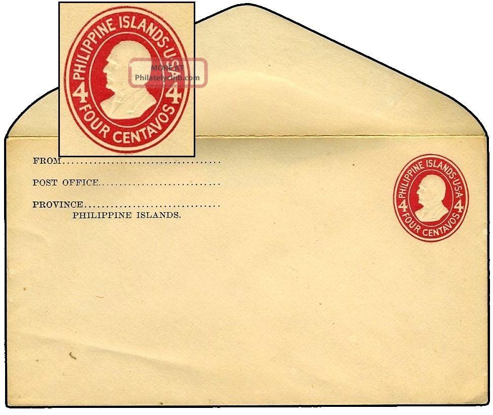 Philippines 1908 4¢ Pse White Laid Sc U35/upss - 81b United States photo