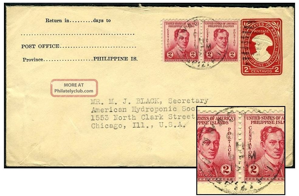 Philippines 2¢ Pse + 4¢ 1937 To Chicago U41/upss - 105a United States photo