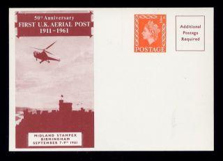 Gb 1961 Midland Stampex Souvenir Card 50th Anniv.  Uk Air photo