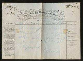 Germany Telegram 1870 Telegraphie Norddeutschen Bundes photo