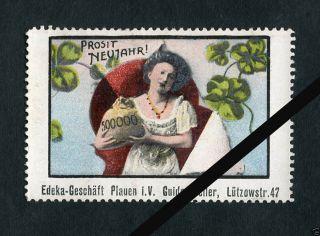 Vintage German Poster Stamp: Antique Cinderella,  Prosit Neujahr Edeka - Gesohaft photo