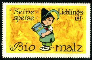 Vintage German Poster Stamp: Antique Cinderella - Biomalz - European Lithograph photo