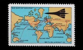U.  K.  British Aircraft Advertising Label Concorde International Routes photo