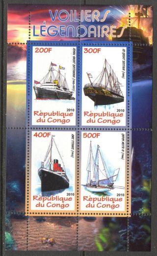 2010 Famous Ships Sailboats Sheet Of 4 photo