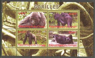 2009 Animals Monkeys Gorilla Sheet Of 4 photo
