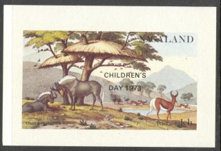 Nagaland 1973 Antelope Gnoo Birds Ostrich Overpr.  Children ' S Day S/s Nn006 photo