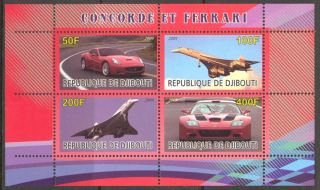 2009 Aviation Concorde Cars Ferrari Sheet Of 4 photo