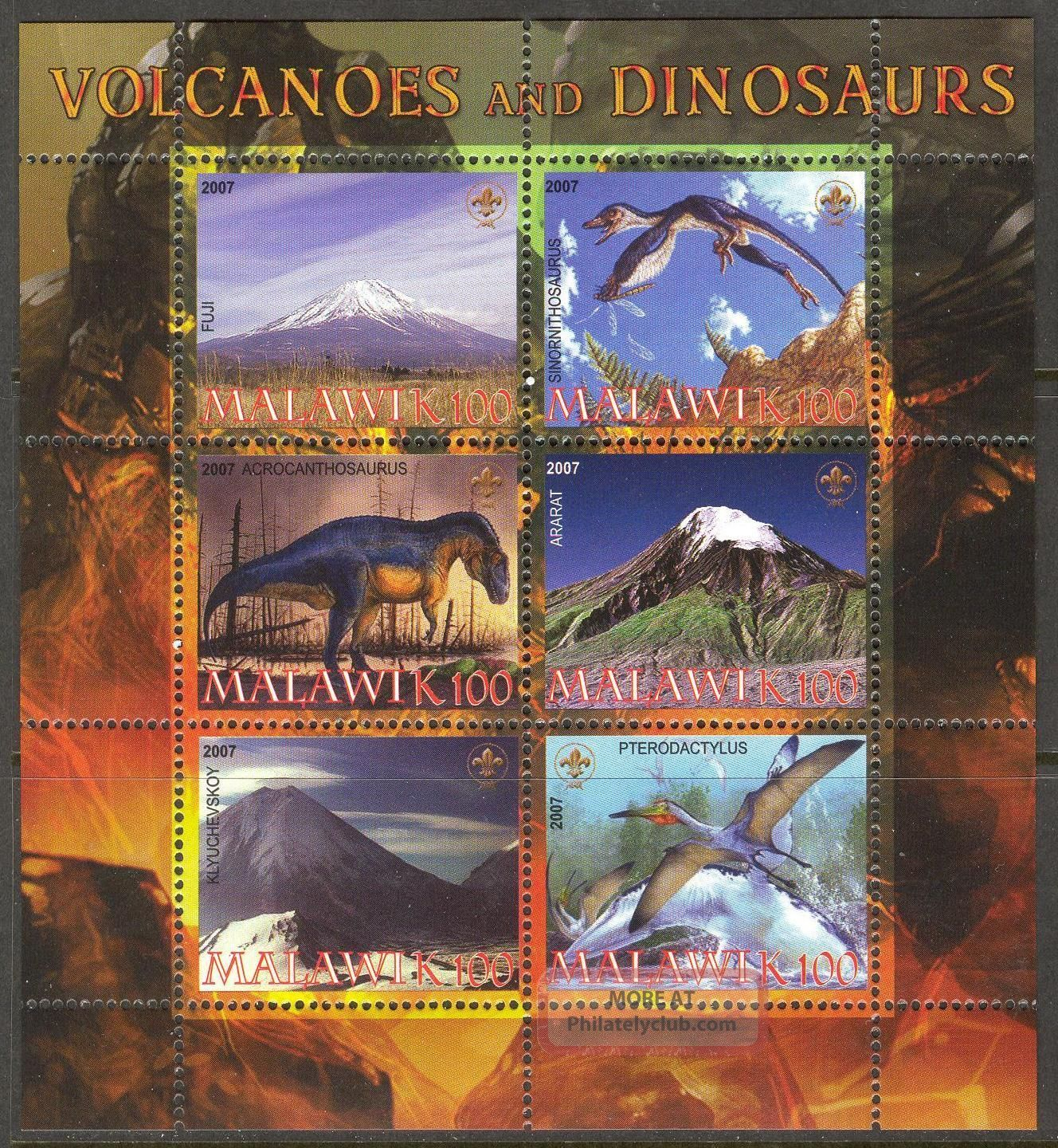 2007 Dinosaurs Famous Volcanoes Mountains Sheet Of 6 Specialty Philately photo