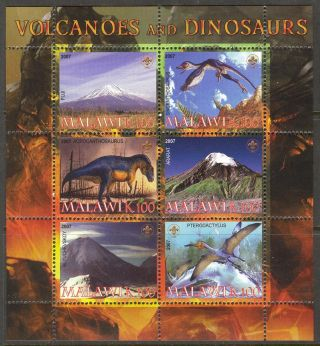 2007 Dinosaurs Famous Volcanoes Mountains Sheet Of 6 photo