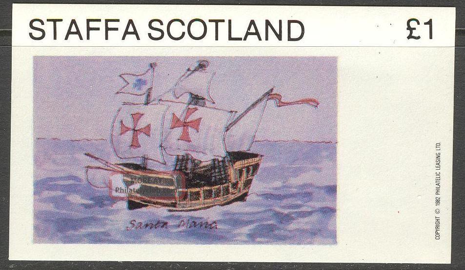 Staffa (br.  Local) 1982 Ships Iii Sailing Ship Santa Maria S/s 1£ Ns039 Specialty Philately photo