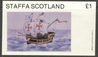 Staffa (br.  Local) 1982 Ships Iii Sailing Ship Santa Maria S/s 1£ Ns039 photo
