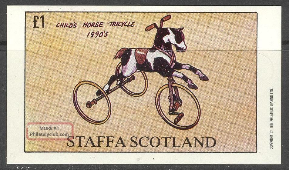 Staffa (br.  Local) 1982 Cycle Child ' S Horse Tricycle S/s 1£ Ns020 Specialty Philately photo