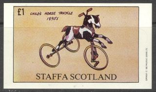 Staffa (br.  Local) 1982 Cycle Child ' S Horse Tricycle S/s 1£ Ns020 photo
