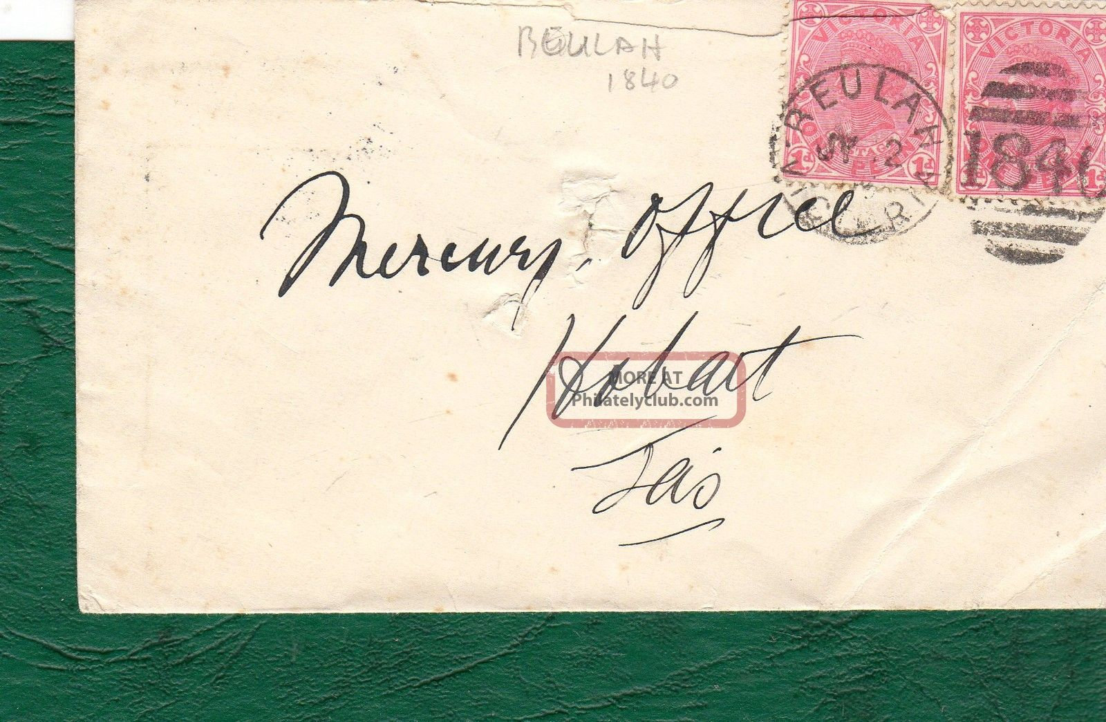 1906 Cover,  Victoria To Tasmania.  Cancelled With Circular Beulah 1840 Handstamp. Australia photo