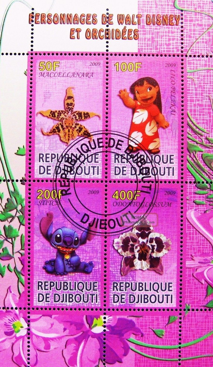 2009 Djibouti Mini - Sheet Orchids Disney Animation Lilo Stitch Cto Topical Stamps photo