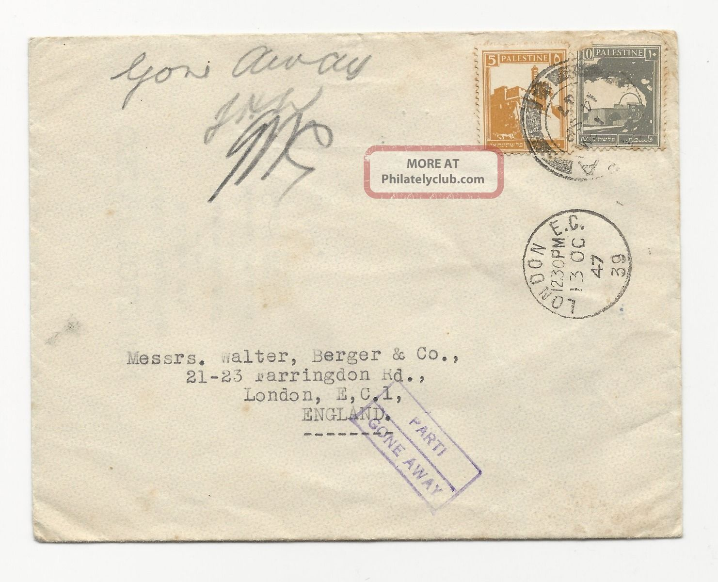Palestine 1947 Cover+letter Consul Unopend Gone Away Middle East photo
