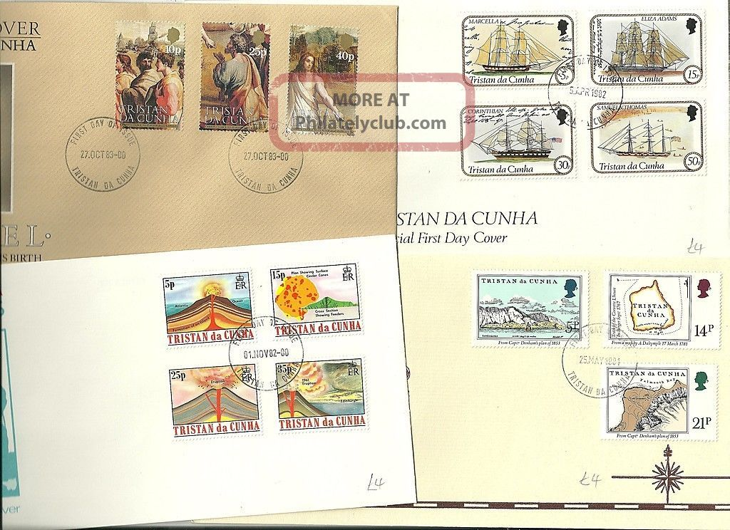 1981/3 4 X Tristan Da Cunha Fdcs Maps Volcanoes Raphael Artist & Ships - V Fine British Colonies & Territories photo