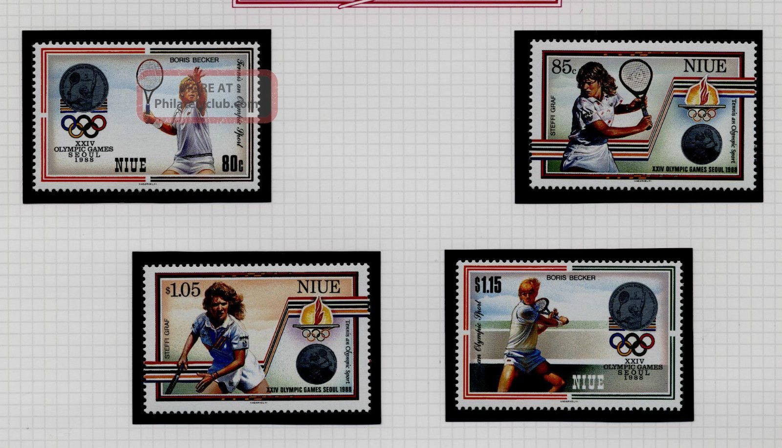 1987 Niue Seoul Olympics Tennis 1st & 2nd Issues Unmounted Australia & Oceania photo