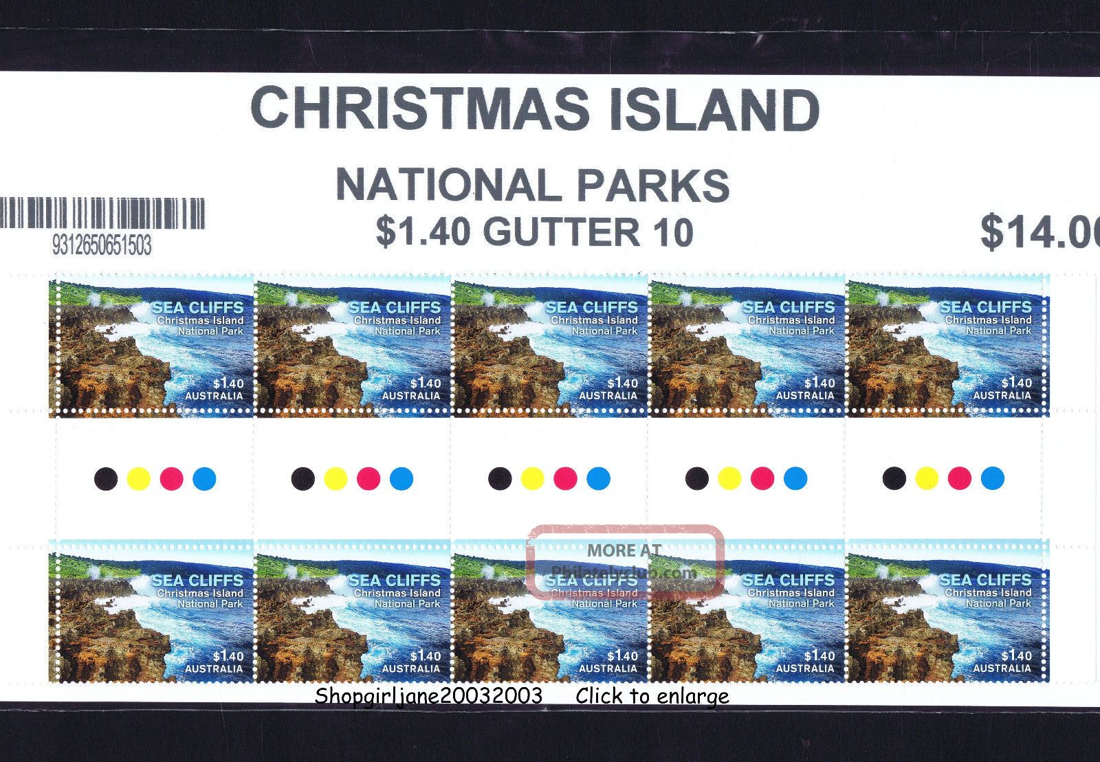 2014 ❧ Australia ❧ Christmas Island ❧ National Parks ❧ $1.  40 Gutter Strip Of 10❧ States & Territories photo
