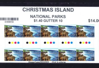 2014 ❧ Australia ❧ Christmas Island ❧ National Parks ❧ $1.  40 Gutter Strip Of 10❧ photo