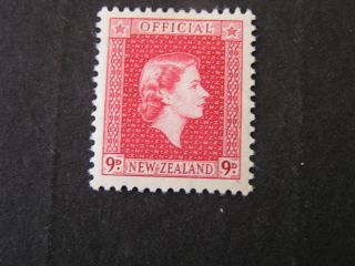 Zealand,  Scott O105.  9p.  Value Rose Carmine 1954 Qe2 Issue Mlh photo