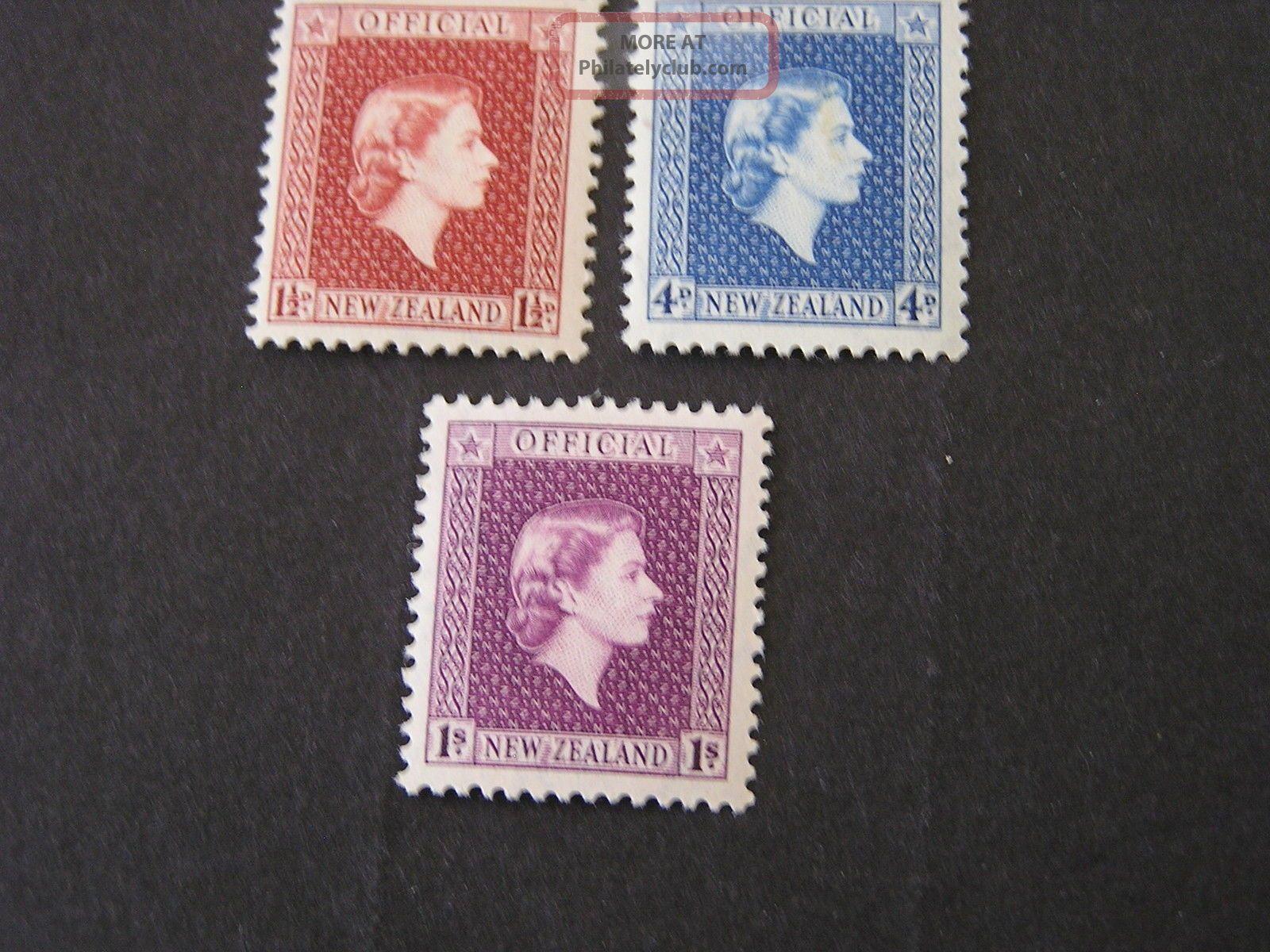 Zealand,  Scott O101+o104+o106 (3) 1p+4p+1/ - Values 1954 Qe2 Issue.  Mlh Australia & Oceania photo