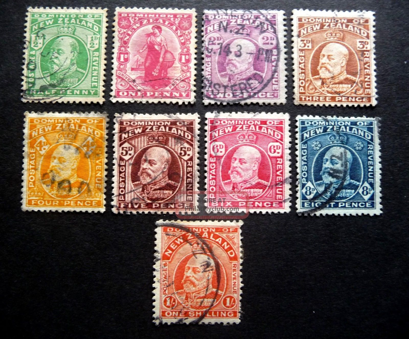 Zealand Kedvii 1909 Definitives As Seen Australia & Oceania photo